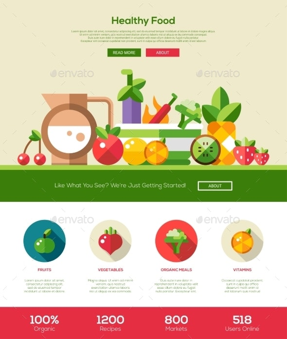 Flat Design Fruits And Vegetables Website Header - Food Objects