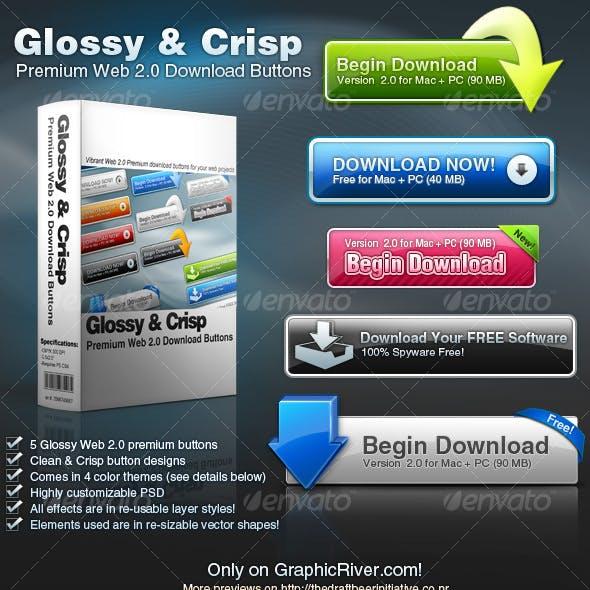 Glossy & Crisp Premium Web 2.0 Download Buttons