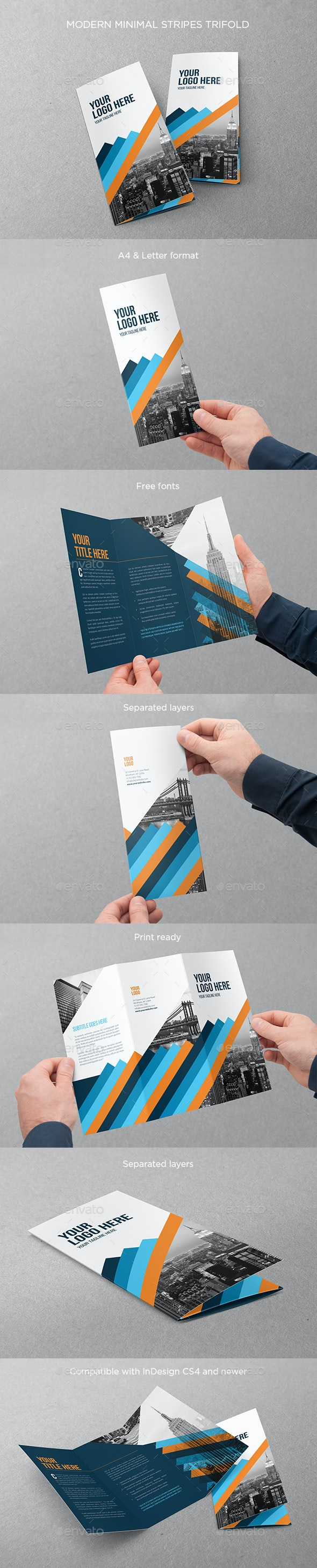 Modern Minimal Stripes Trifold - Brochures Print Templates