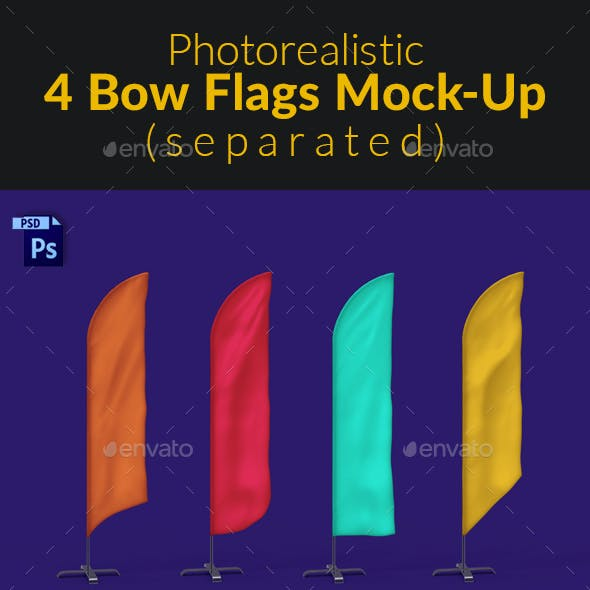 4 Feather / Beach / Sail / Bow Flags MockUp