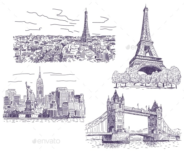 Sightseeings Vector Drawings Set - Travel Conceptual