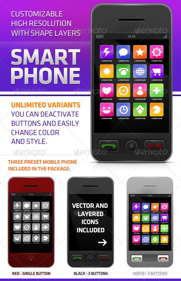 Smartphone with Icons - Mobile Displays