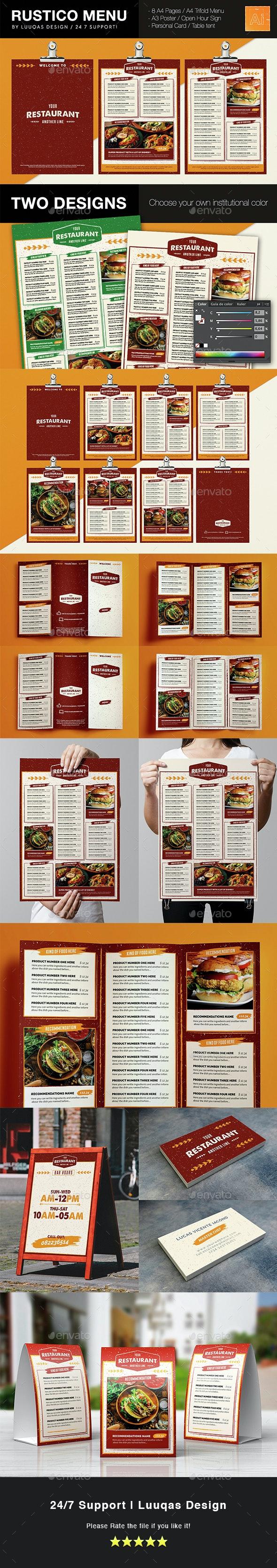 Rustico Menu Illustrator Template - Food Menus Print Templates