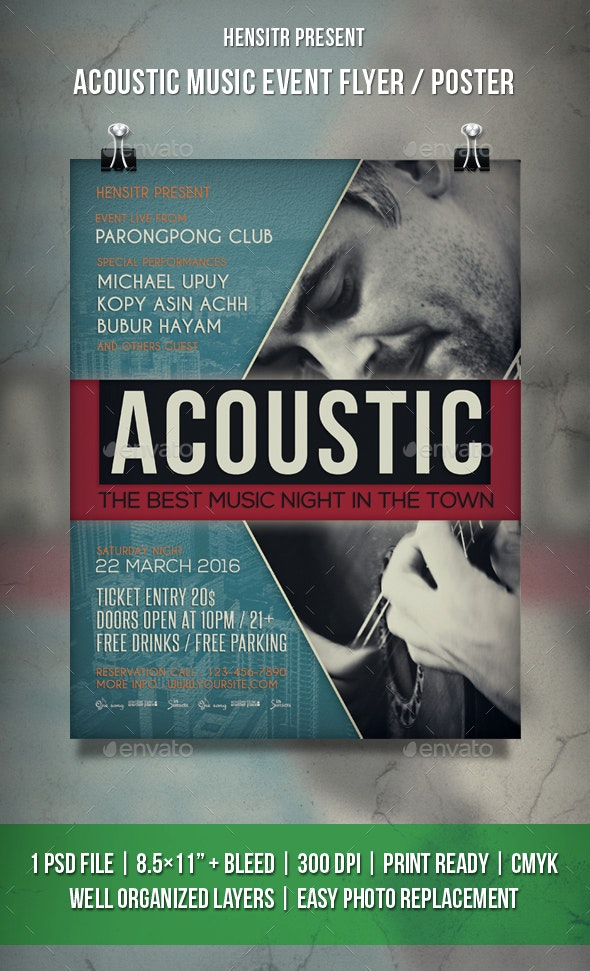 Acoustic Music Event Flyer / Poster - Events Flyers