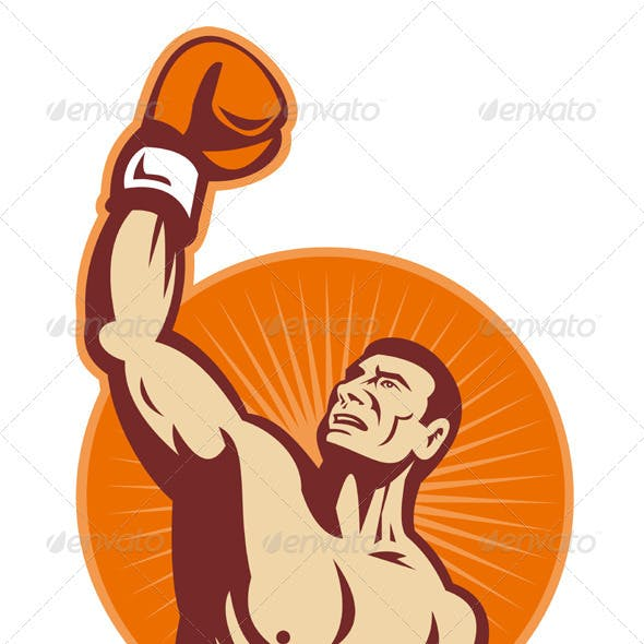 Boxer With Boxing Gloves Retro