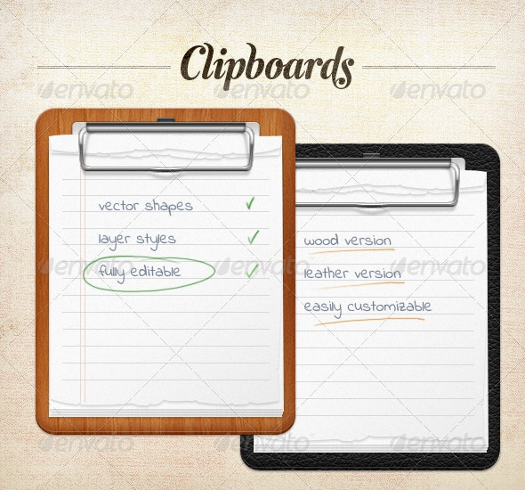 Clipboard - Wood and Leather - Objects Icons