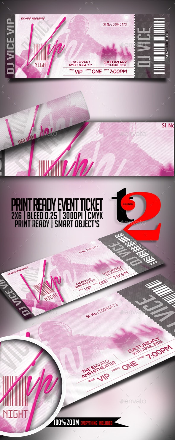 Print Ready Event Ticket - Clubs & Parties Events