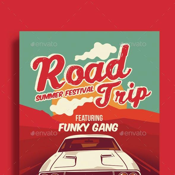 Road Trip Summer Festival Poster flyer