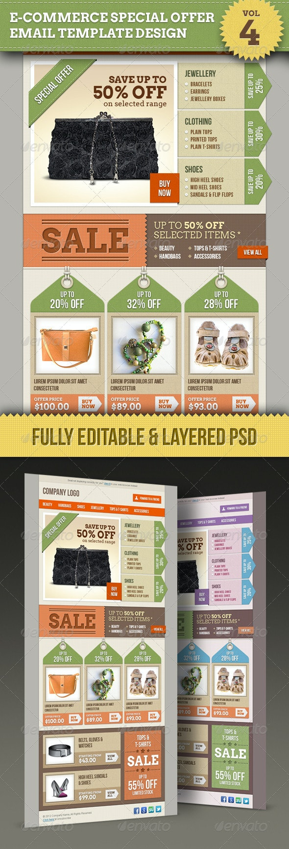 E-commerce Offers Email Template Design Vol.4 - E-newsletters Web Elements