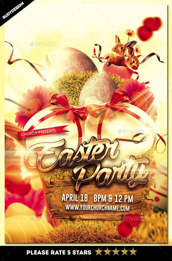 Easter Party Flyer - Church Flyers