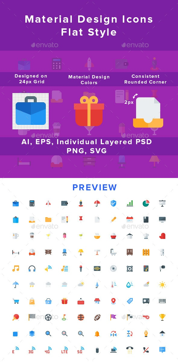 New Material Design Icons - Flat Style - Icons