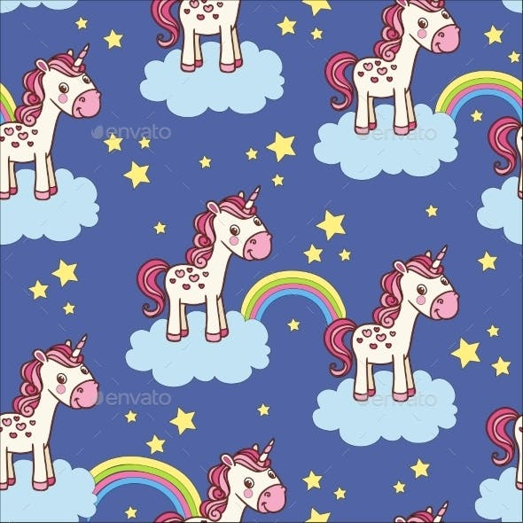 Seamless Pattern with Unicorn
