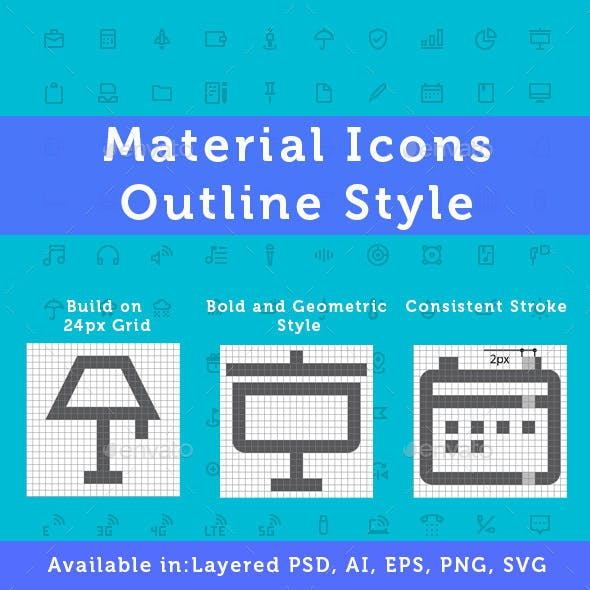New Material Design Icons - Outline Style