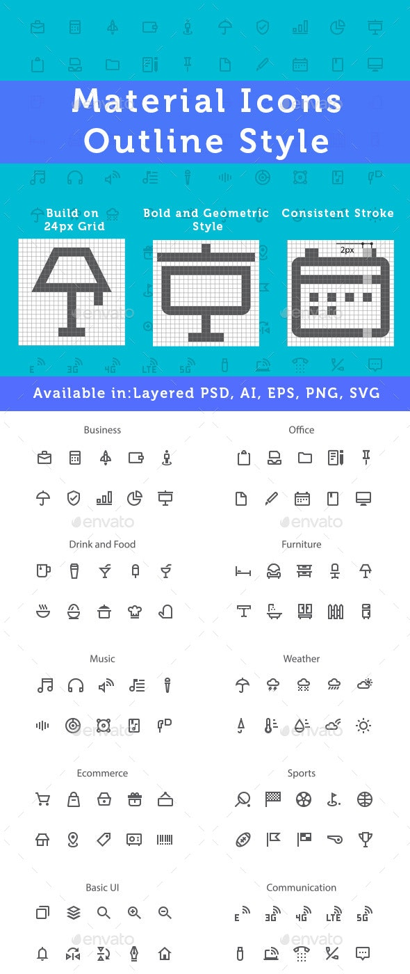 New Material Design Icons - Outline Style - Icons