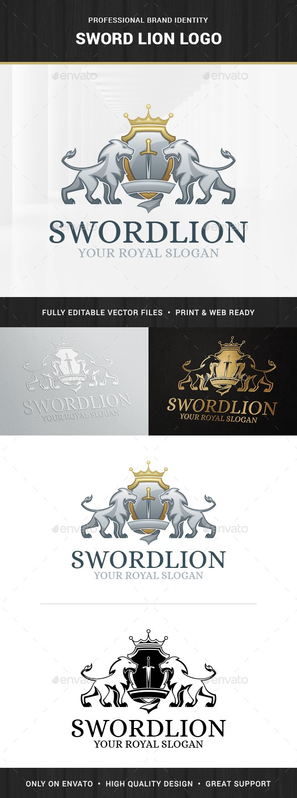 Sword Lion Logo Template - Crests Logo Templates