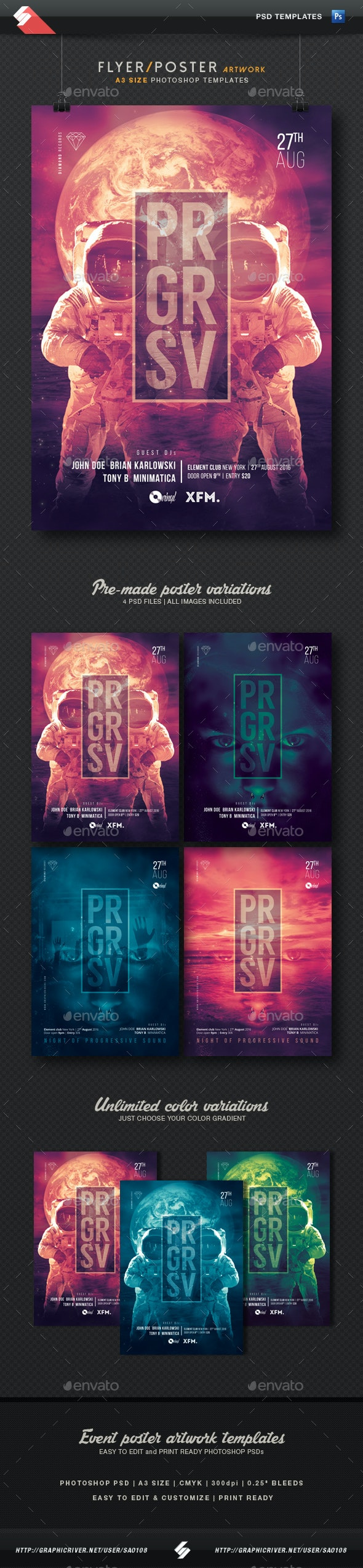 Progressive Party Flyer / Poster Templates A3 - Clubs & Parties Events