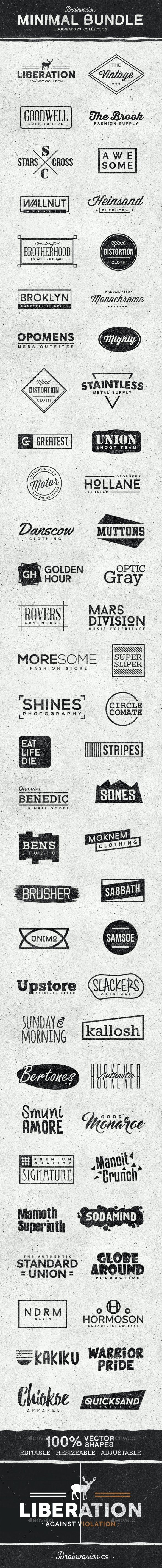 Minimal Logo/Badges Bundle - Badges & Stickers Web Elements