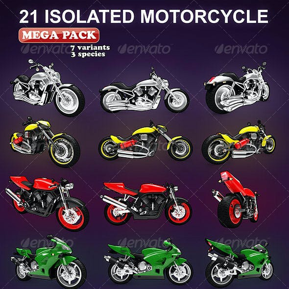 Isolated Motorcycles Mega-Pack (7 variation)