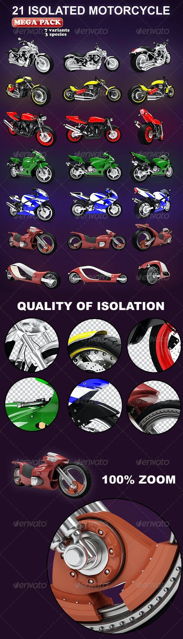 Isolated Motorcycles Mega-Pack (7 variation) - Objects 3D Renders
