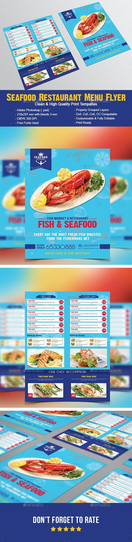 Seafood Restaurant Menu Flyer - Food Menus Print Templates