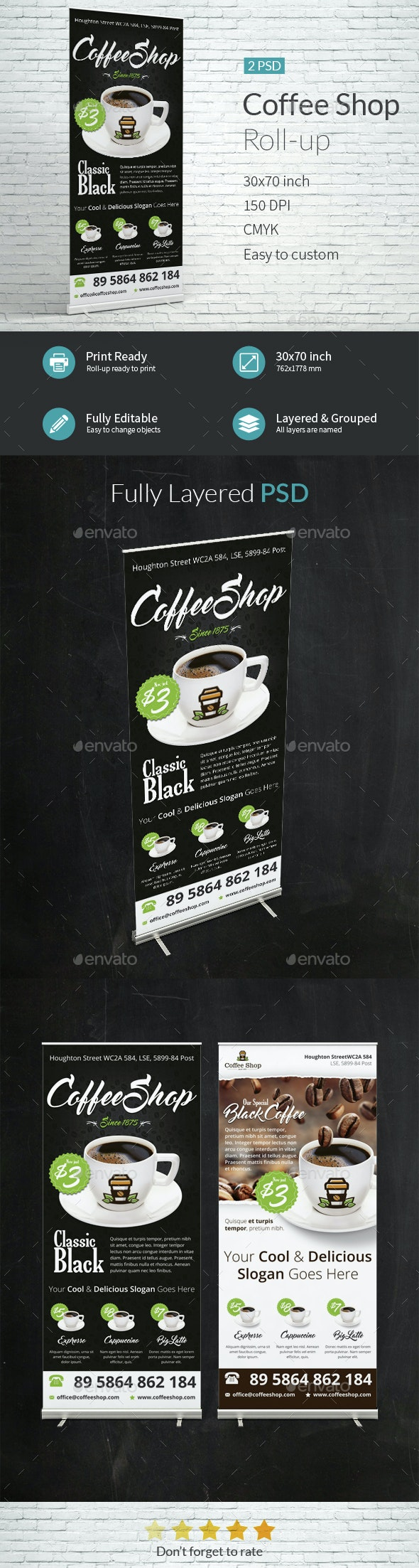 modern Coffee Shop Roll-up Templates - Signage Print Templates