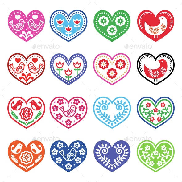 Folk Art Hearts with Flowers and Bird Icons Set - Valentines Seasons/Holidays