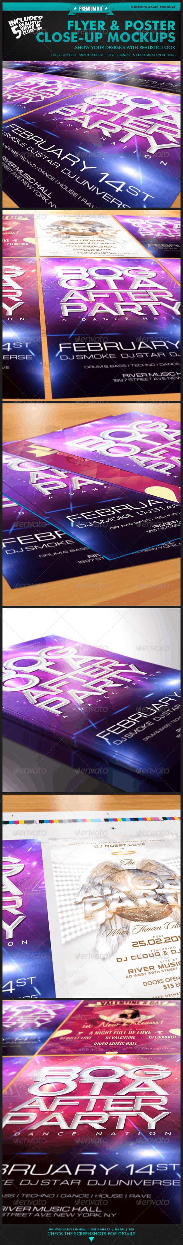 Flyer & Poster Close-Up Mockups - Premium Kit - Flyers Print