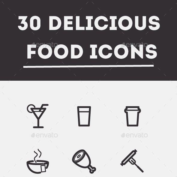 30 Delicious Food Vector Icons