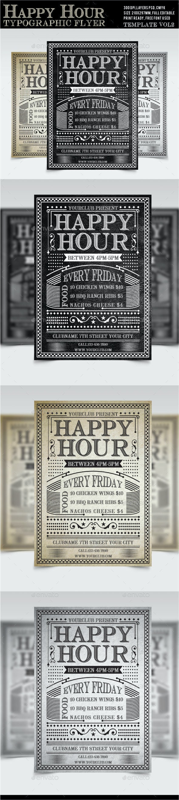 Happy Hour Flyer Vol2 - Restaurant Flyers