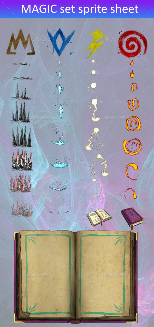 Spell Book Set - Miscellaneous Game Assets