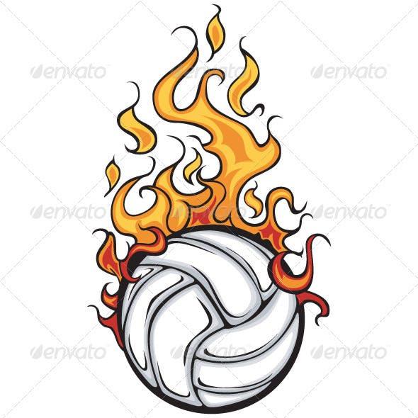 Volleyball Flaming Ball Vector Cartoon