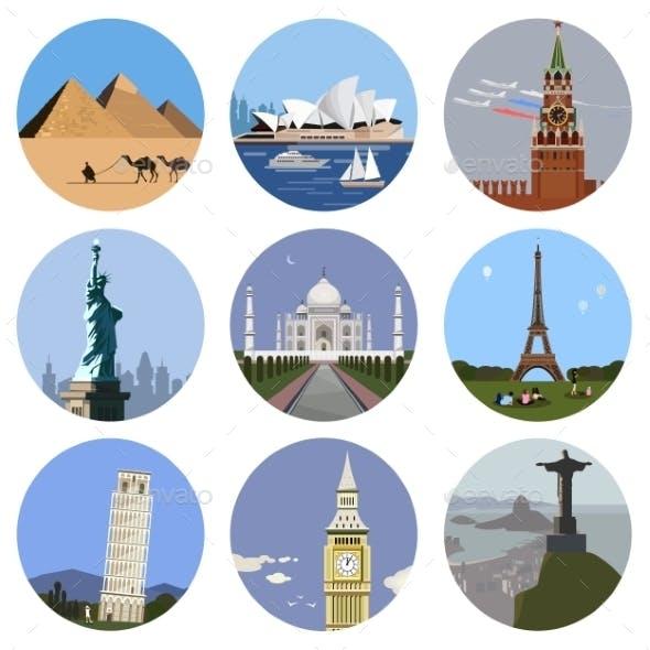 World Landmarks Flat Icon Set