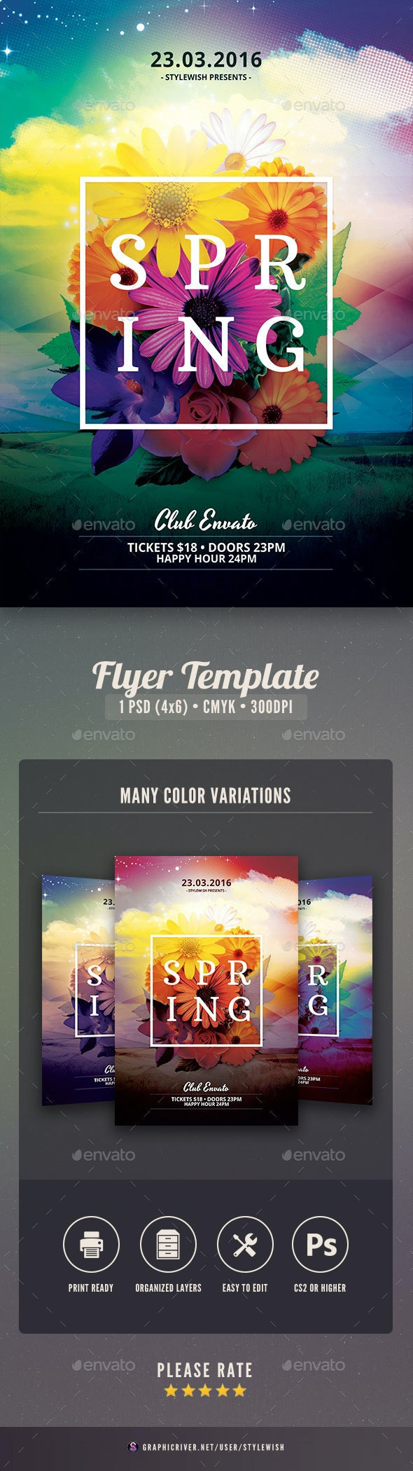 Spring Party Flyer Template - Clubs & Parties Events