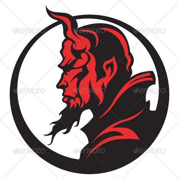 Devil Demon Mascot Head Vector Illustration - People Characters