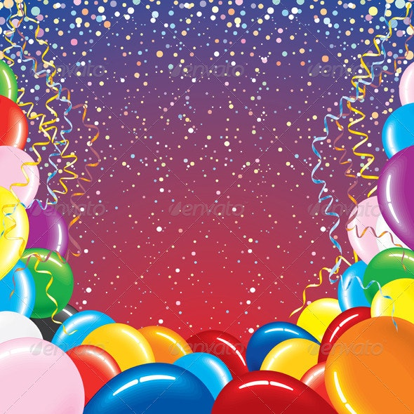 Background With Balloons and Confetti - Birthdays Seasons/Holidays