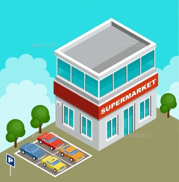 Isometric Supermarket - Buildings Objects