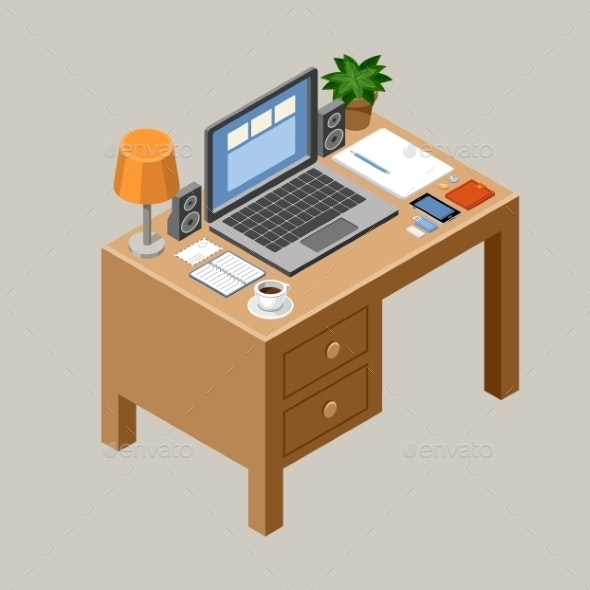 Flat Isometric Workspace - Computers Technology