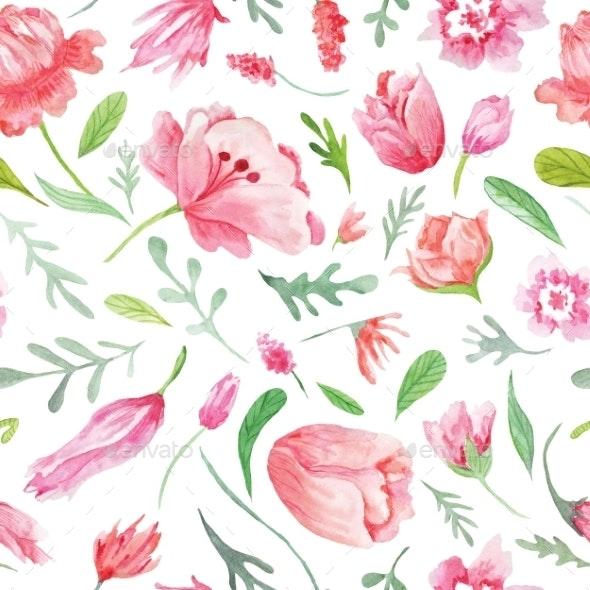 Watercolor Floral Pattern - Backgrounds Decorative