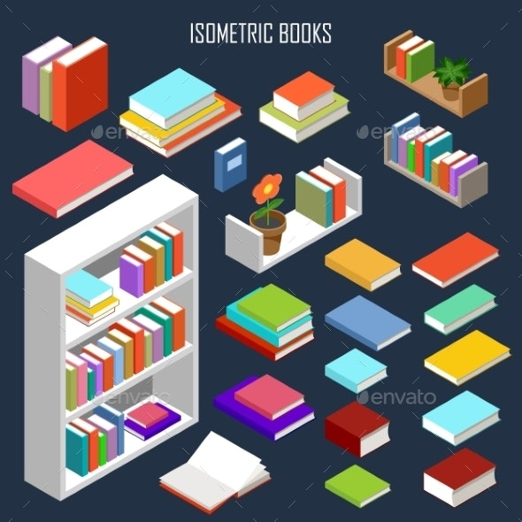 Isometric Books  - Man-made Objects Objects