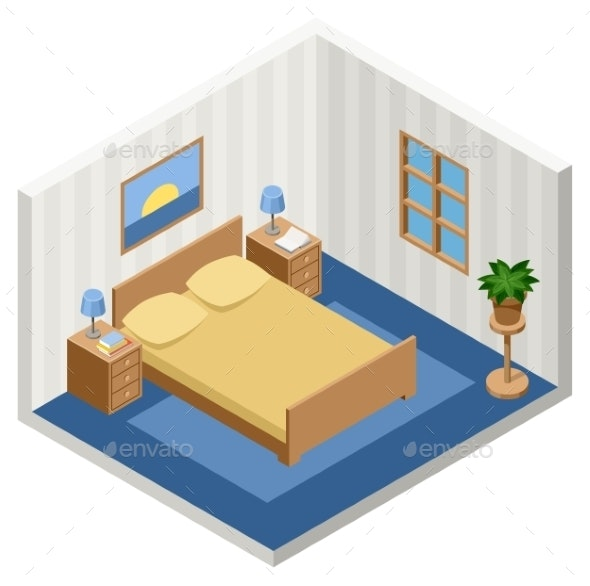 Interior of an Isometric Bedroom with Furniture - Buildings Objects