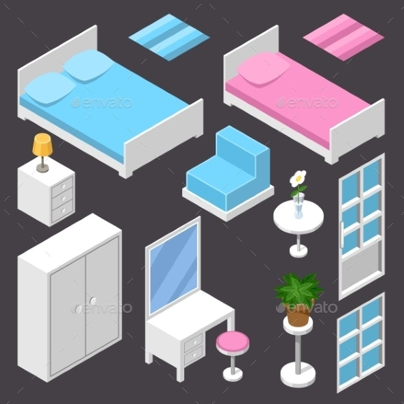 Isometric Furniture - Buildings Objects