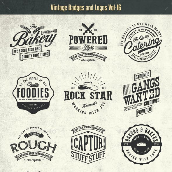 Vintage Badges and Logos Vol-16