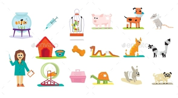 Animal Veterinary Care Flat Isolated - Animals Characters