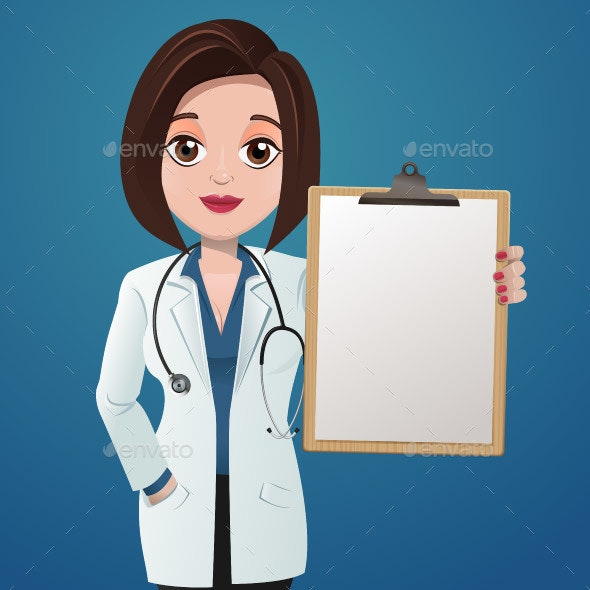 Cartoon  Female Doctor with Clipboard - People Characters
