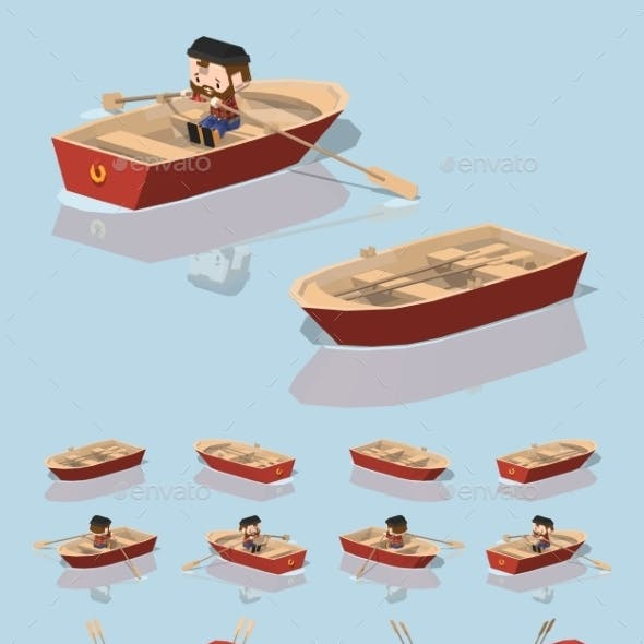Low Poly Red Punt Boat