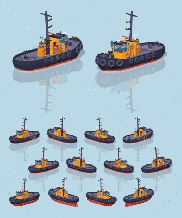 Low Poly Orange and Black Tugboat - Man-made Objects Objects
