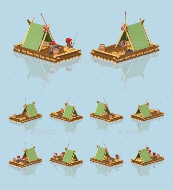 Low Poly Wooden Raft - Man-made Objects Objects