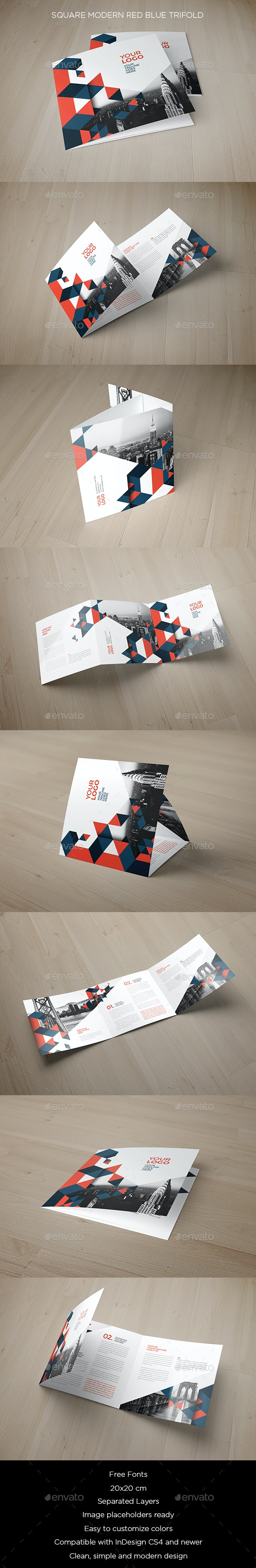 Square Modern Red Blue Trifold - Brochures Print Templates