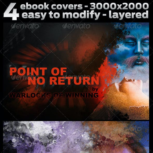 4 ebook covers in 3000x2000 - easy to change