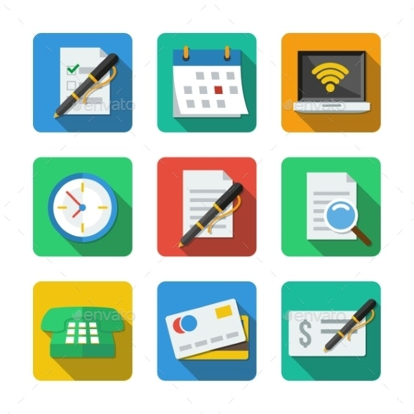 Nine Different Icons in a Flat Style - Web Technology